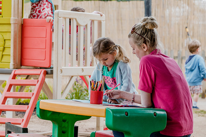 Lower preschool development in an outside space